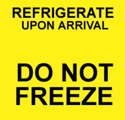 M5 - Caution Refrigeration Upon Arrival - Do Not Freeze Shipping Label