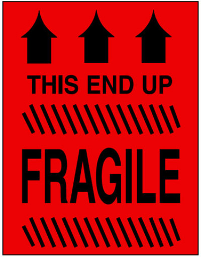 Caution Fragile - This End Up Label