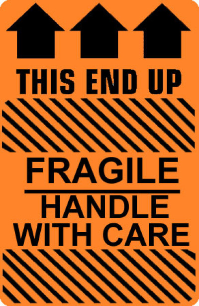 Caution Fragile Handle With Care - This End Up Label