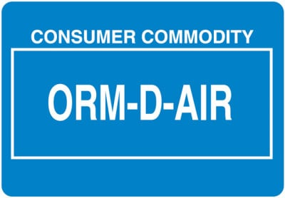 Other Regulated Material ORM-D-AIR Label