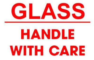 F3 - Packing Glass Handle With Care Shipping Label