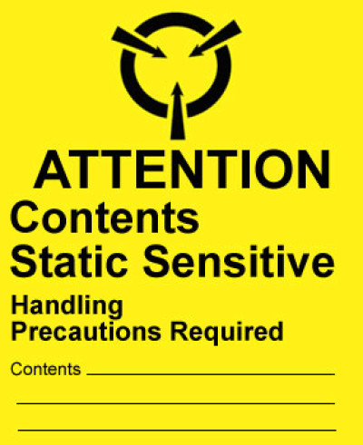 A2 - Warning Attention - Contents Static Sensitive Shipping Label