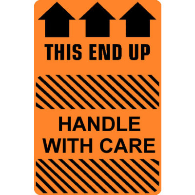 CA28 - Caution Handle With Care - This End Up Shipping Label