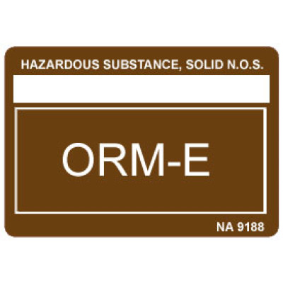 O37 - Other Regulated Material ORM-E Shipping Label