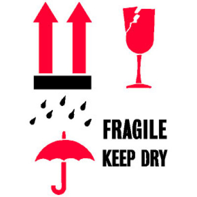 P10 - Packing International Fragile Keep Dry Shipping Label