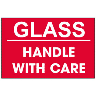 F1 - Packing Glass Handle With Care Shipping Label