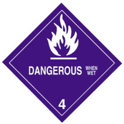 D10 - Warning Dangerous When Wet Shipping Label