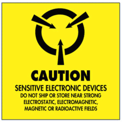 A4 - Warning Caution - Sensitive Electronic Devices Shipping Label