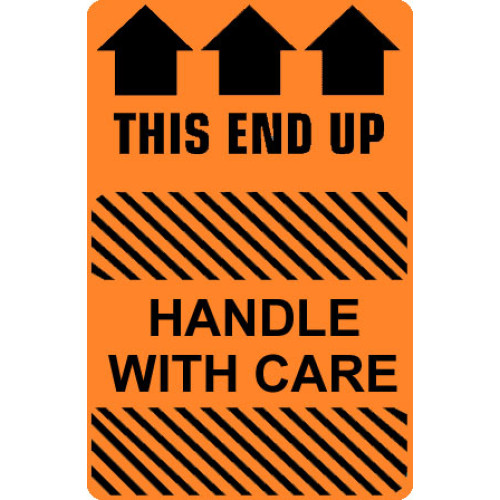 Caution Handle With Care - This End Up Label
