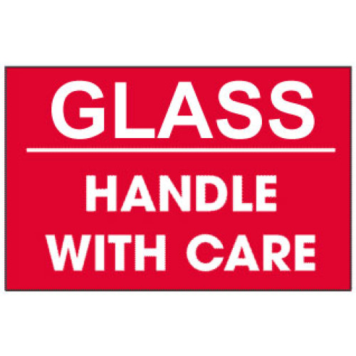 Packing Glass Handle With Care Red Label