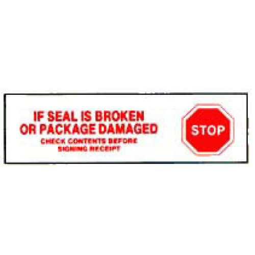 Printed Tape If Seal Is Broken Or Package Damaged Label