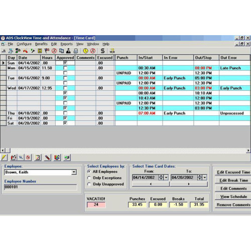 Unitech ClockView Time Tracking Software
