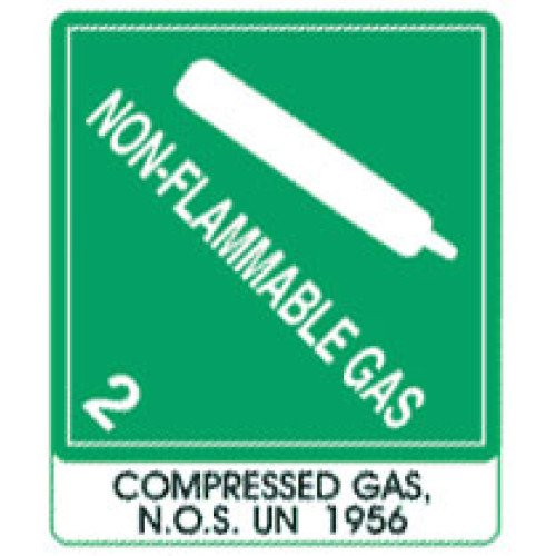 Warning Non-Flammable Gas with Note Label